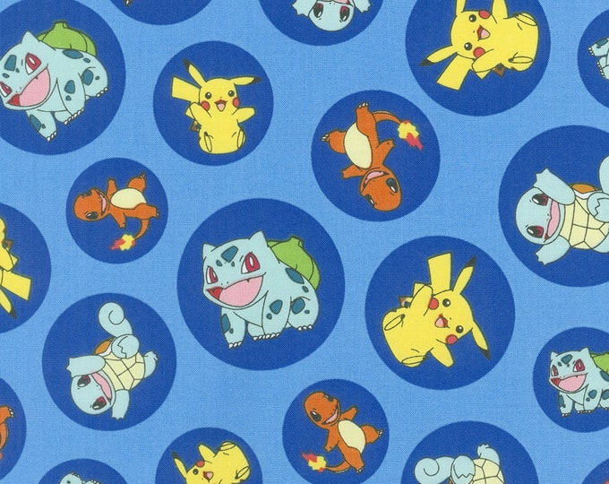 Robert Kaufman - Pokemon - Pokemon Fabric - Blue background - Sold by the Yard