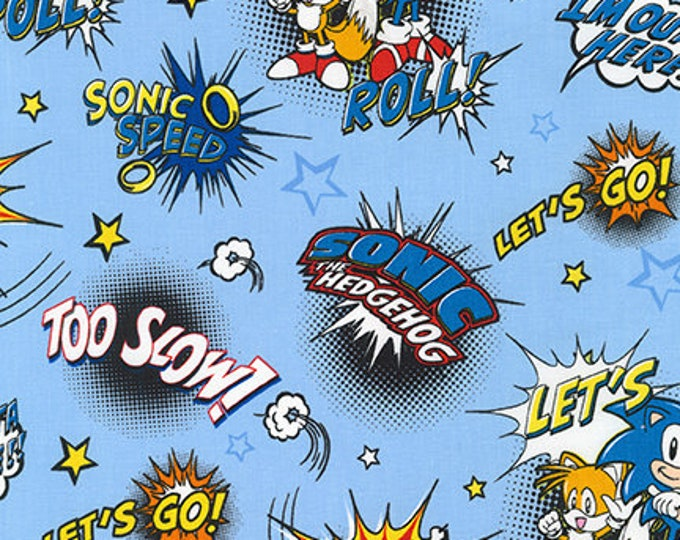 Robert Kaufman - Sonic the Hedgehog - Exclamations on Blue - Sonic - AXX-74448-4 - Blue - Sold by Yard