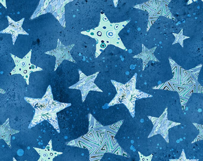 Blank Quilting - Sea Glass - Stars - Star Fabric - Blue - 9557-75 - Sold by the yard