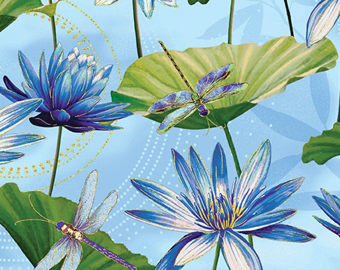 Kanvas for Benartex - Dance of the Dragonfly - Waterlily Pool - Light Blue  - 8499M-51 - Gold Metallic - Sold by the Yard