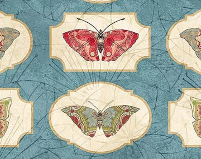 Northcott Artisan Spirit - Serendipity - Butterfly  on Blue - All Over Print - Butterfly  - Blue - 21867 44