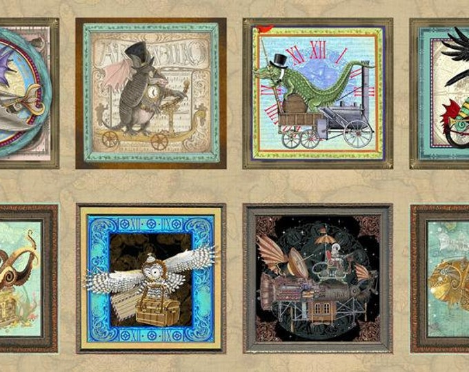 Quilting Treasures - Fantasy & Fiction - Panel - Steam Punk - Steam Punk Animals - 27550X  - Sold by the Panel