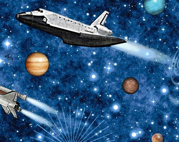 Quilting Treasures - Intergalactic - Planets - Shuttle - Rockets - Blue - 26743Y - Sold by the Yard