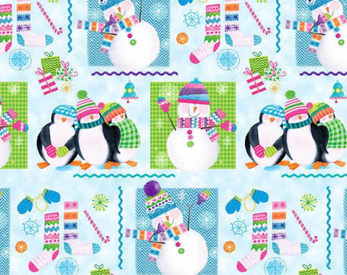Blank Quilting - By Golly Let's Be Jolly - Snowmen and Penguins - Light Blue - 9565-11 - Sold by the Yard