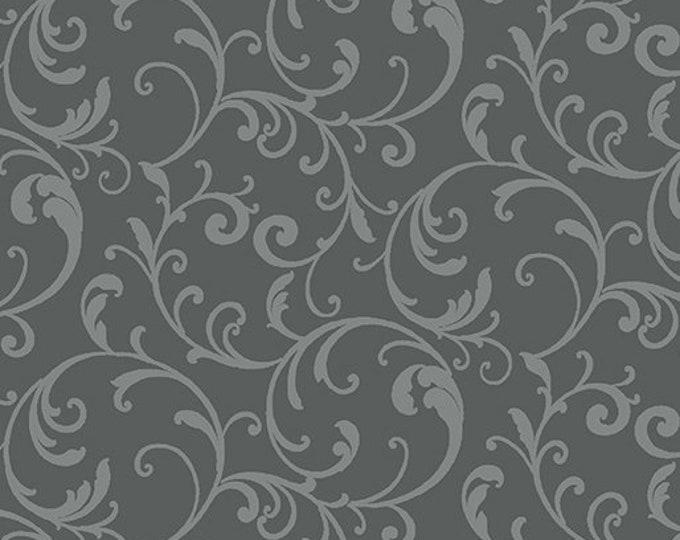 Benartex - Classic Scroll  - Scroll Fabric -  Gray  - Blender - 3628-11 - Sold by the Yard