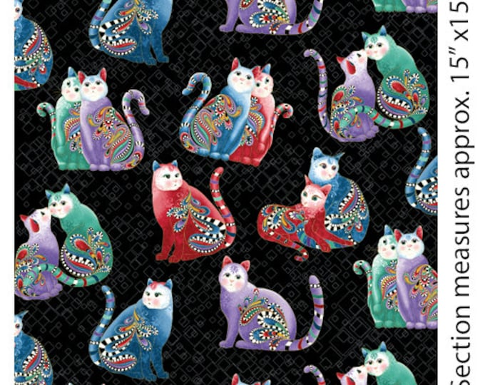 Benartex - Cat-I-Tude 2 - Purrfect Together -  Cat - Metallic - Playful Cats - Tossed Cats - Black - 7559M12B  - Sold by the Yard