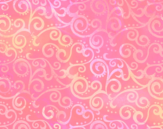 """Quilting Treasures - Ombre Scroll - Wide Back - Pink - 108"""" Wide - 24775P - Sold by the Yard - 36"""" x 108"""""""