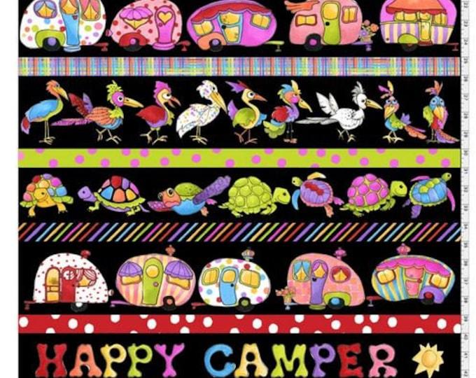 Loralie Design - Happy Camper - Border Stripe - Black - 692-276-  Sold by Yard