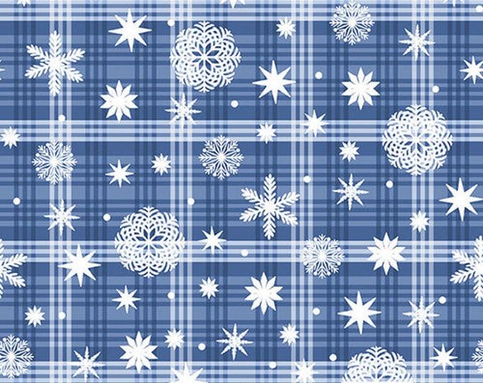 Blank Quilting - Nordic Forest  - Snowflake on Plaid - Blue/White - Plaid fabric  - All over print  - 9578-75 - Sold by the Yard