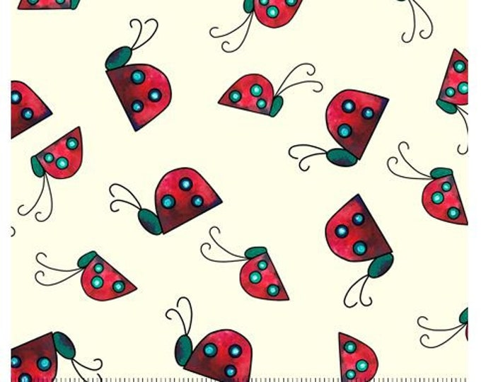 """Quilting Treasures - Painterly Garden - Ladybugs - 28040E - Cream - 36""""x43"""" - Sold by the Yard"""