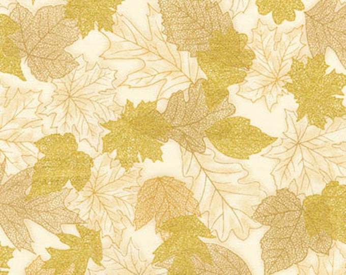 Robert Kaufman - Shades of the Season 10 - Gold Metallic - Filegree - Leaves- Fall - Autumn - SRKM-16751-15 - Sold by the Yard