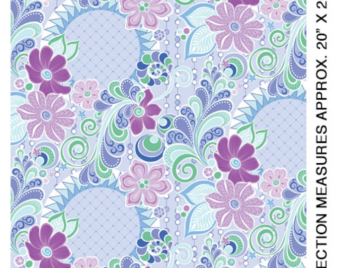 Benartex - Contempo - Free Motion Fantasy - by Amanda Murphy - Feature Fabric - Blue - 5440-50 - Sold by the Yard