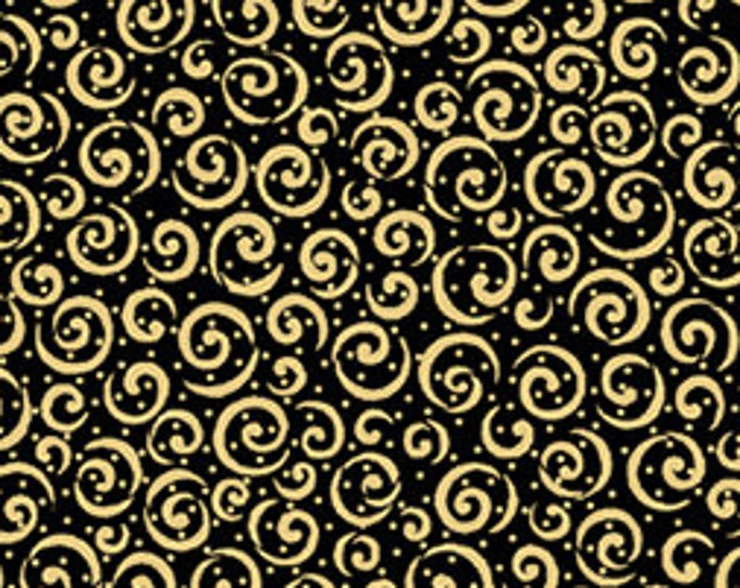 Quilting Treasures - Metal Scroll - Gold / Black - Metallic - 23538JS - Sold by the Yard