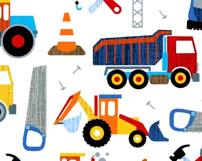 Windham Fabrics - Work Zone - Construction -  Dump Truck - Tools 0 Backhoe - Trucks - white -  52265-1- Sold by the Yard