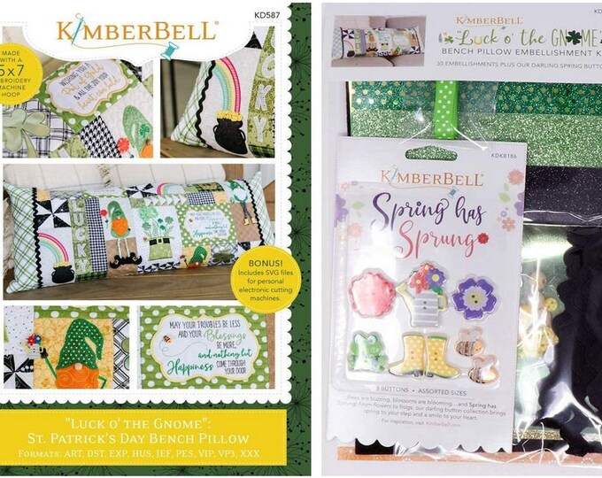 Kimberbell - Luck O' the Gnome - St Patrick's Day Bench Pillow - Kit - Embroidery CD and Embellishment Kit - Sold by the Kit - FREE SHIPPING