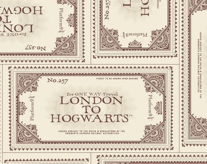 Camelot - Harry Potter - HP Ticked to Hogwarts - Cream - 23800616-02 - Train Ticket - Platform 9 and three quarters 9 3/4- Sold by the Yard