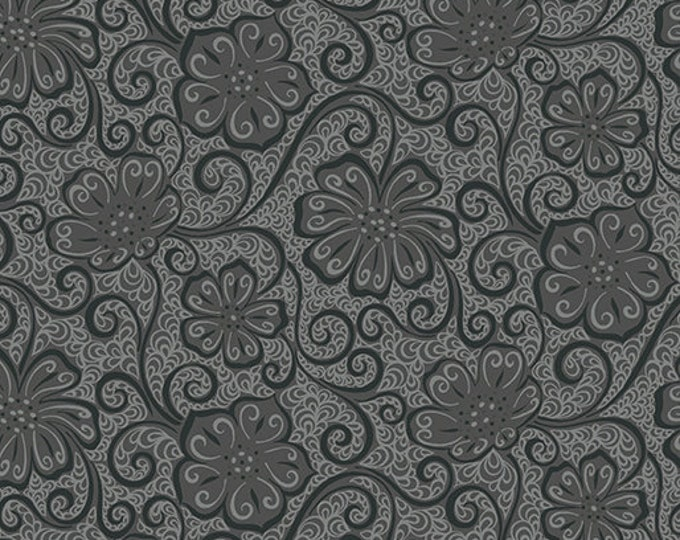 Benartex - Contempo - Meadow Dance - by Amanda Murphy - Floral Blender  - Dark Grey - 4044-11 - Sold by the Yard