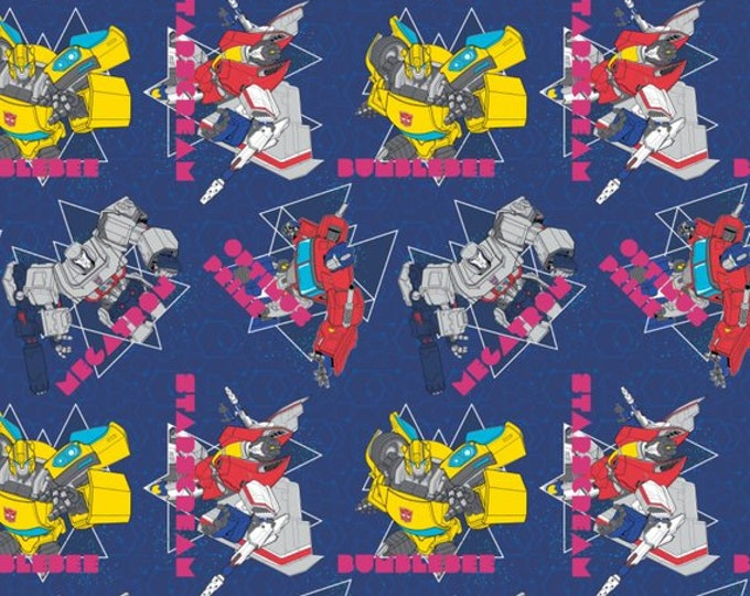 Camelot - Transformers Galaxy - In Action - Large All Over Print -  Navy -  95020201 - Sold by the Yard