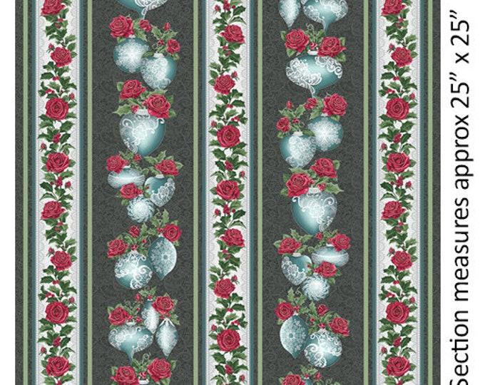 Benartex - A Festive Season II - Border Stripe -Lace Ornament - Silver Metallic - Lace - Charcoal/Teal - 2617M11B - Sold by the Yard