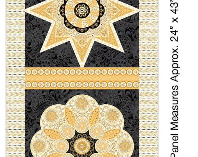 Benartex - Jubilee - Panel - Amanda Murphy  - 5498M-99 - Gold Metallic - Fabric by the Panel