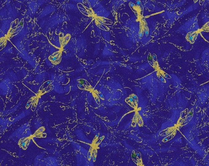 Timeless Treasures -  Night - Dragon Fly - Fabric - Dragonfly -  Mini Dragonfly - Gold Metallic - CM6097 - Blue - Royal - Sold by the Yard