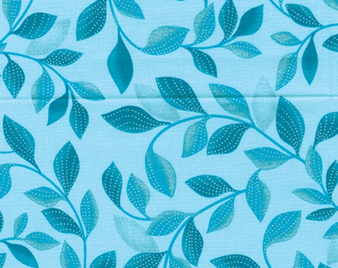 Kanvas for Benartex - Pearl Reflection - Pearl - Shimmer Leaves - Aqua/Teal - 8806P-84 - Pearl - Sold by the Yard