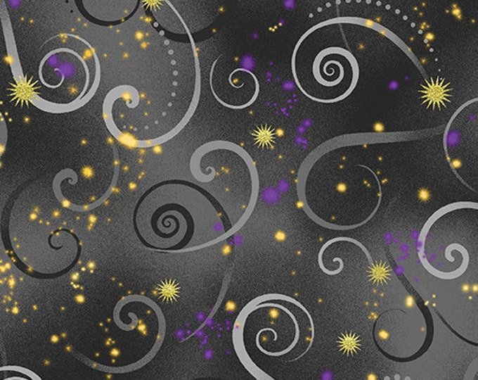 Kanvas for Benartex - Dance of the Dragonfly - Swirling Sky - Charcoal Gray - 8500-11 - Gold Metallic - Sold by the Yard