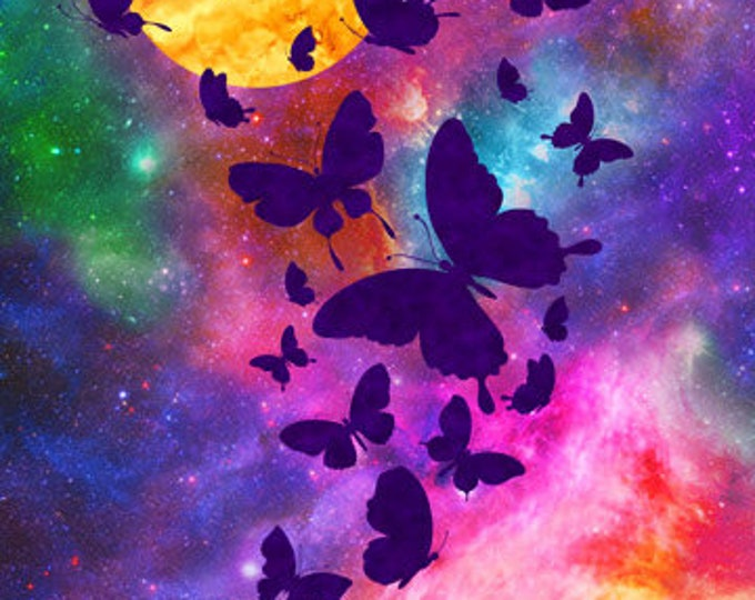 Northcot  - Artisan  Spirit Imagine - Panel - 22564 84 - Imagine - Butterflies - Multicolored background -  Sold by the Panel