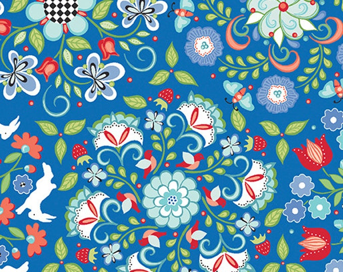 Benartex - Contempo - Folk Art Fantasy - by Amanda Murphy - Medalion Periwinkle - 3130-55 - Sold by the Yard