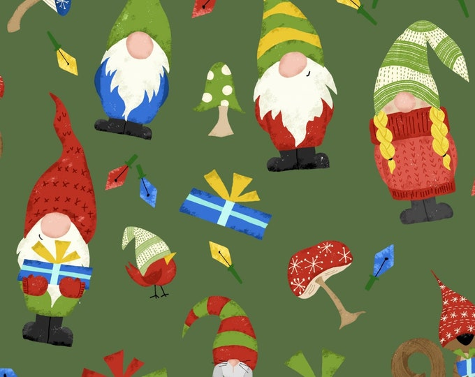 David's Textile - Gnome World - Gnome/Present Toss - Green - Gnome Christmas Fabric - Gnomes - Gnome Fabric - 31879C -  Sold by the Yard