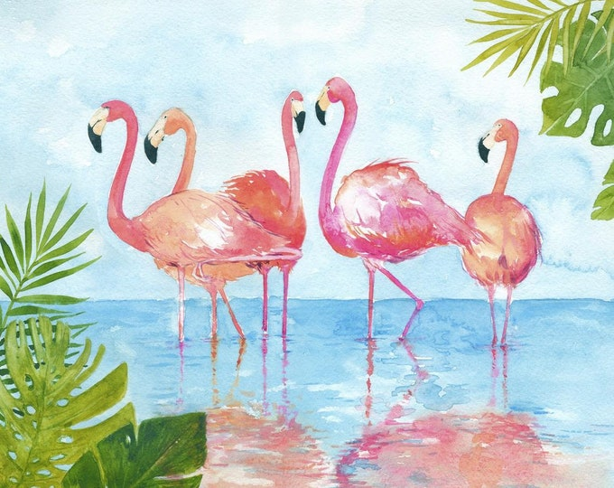 David's Textile - Watercolor Flamingo and Leaves -  Flamingo - Panel - Flamingo Panel - Beach Fabric - 38639C -  Sold by the Panel