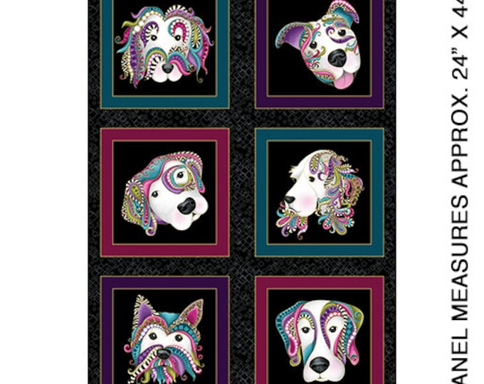 Benartex - Dog On It -Dog Panel -  Gold  Metallic - Dog - Black -  6250M12B- Sold by the Panel