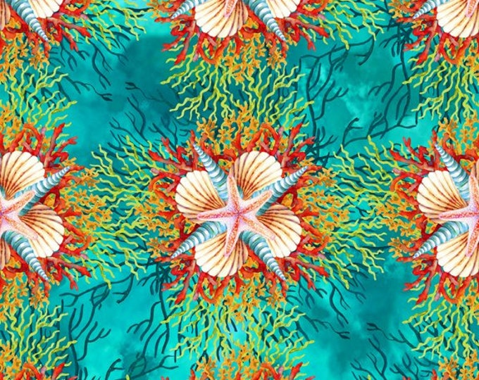 In the Beginning Fabrics - Calypso - Jason Yenter - Teal Shells  - 4CAL2 - Sold by the Yard