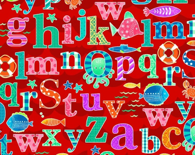 Studio E - Alpha Fish - Alphabet all over with Sea Creatures - Red Background - 4014-88 -  Sold by the Yard