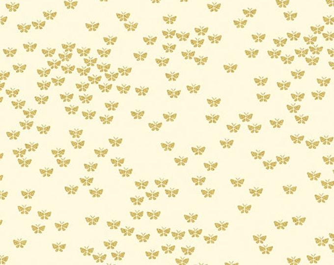 Kanvas for Benartex - Metallic Mixers - Metallic - Butterflies  - Cream - Gold Metallic - 7731M07 - Sold by the Yard
