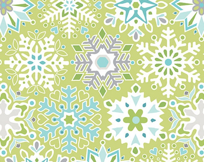Contempo - Nordic Holiday - Green, Teal and White Snowflakes  - 1885-04 - Fabric by the Yard