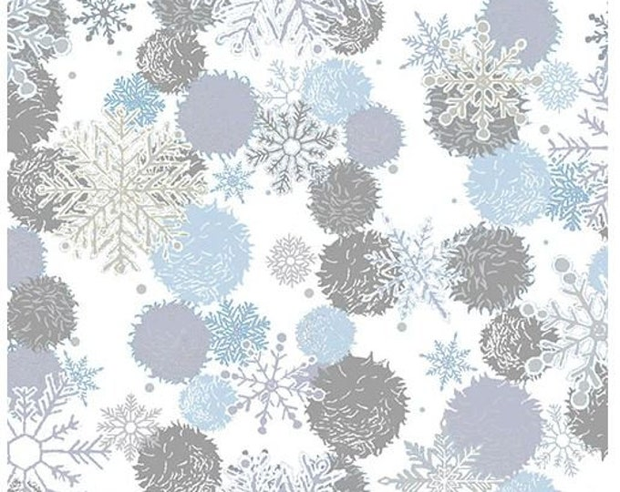 Paint Brush Studios Fabric - Blue Holiday - Silver Metallic - Blue and Silver Snowflakes - 672301 -  Sold by the Yard