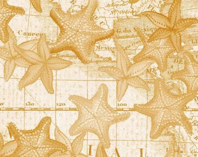 High Tide by Whistler Studios for Windham Fabrics Starfish on Map - Gold