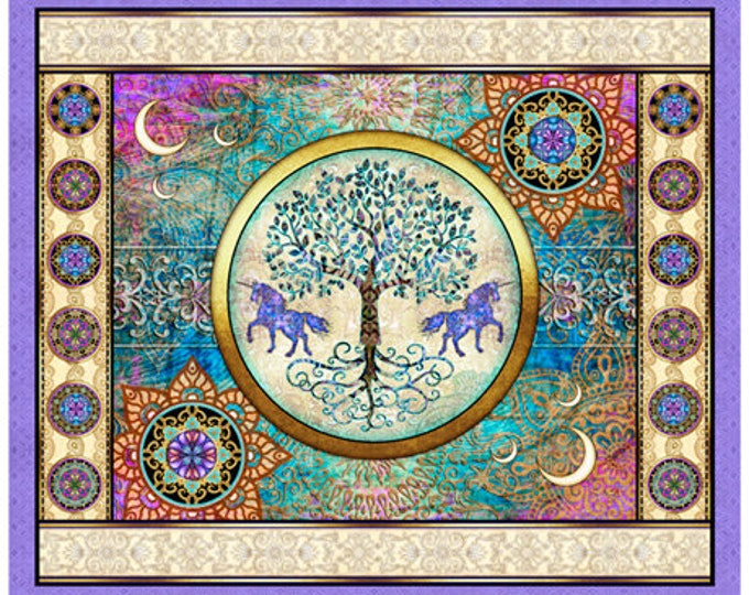 Quilting Treasures - Mystical - Tree of Life - Panel - Patches - Lilac - Sold by Panel - Tree Panel -  27375L