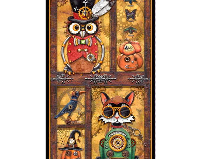 Quilting Treasures - Steampunk Halloween - Panel - Halloween Panel - Steam Punk  - 27769S- Sold by the Panel