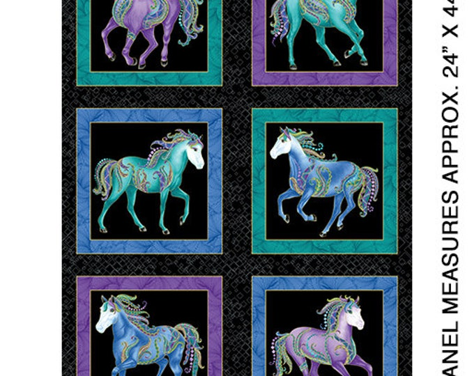 Benartex - Horsen Around  - Panel = Horse - Metallic - Horse Panel - Panel - Black/Multi Panel -  6850M12B - Sold by the Panel