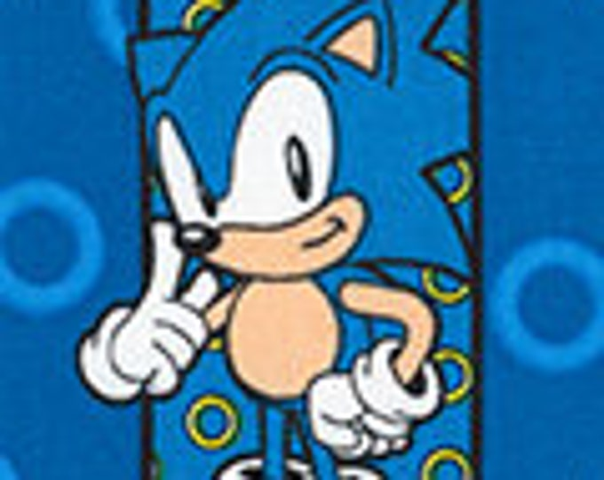 Robert Kaufman - Sonic the Hedgehog - Characters on Blue - Sonic - AXX-74449-4 - Blue - Sold by Yard