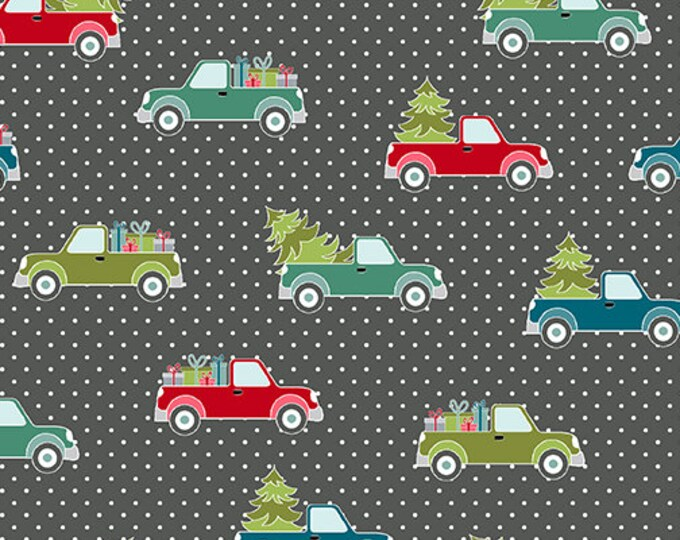 Benartex - Heart and Home - Trucks and Trees -  Quilt Shop - Christmas - 10325-11  - Gray Dot - Sold by the Yard