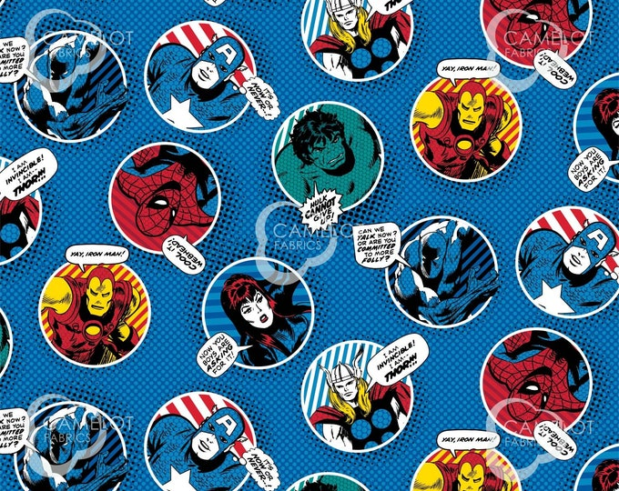 Camelot - Marvel Comic Pow Power - Comic Bubbles  - Marvel Fabric - Blue - 13020508 02 - Sold by the Yard