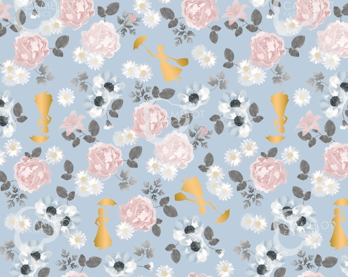 """Camelot - Mary Poppins - approx 36""""x44"""" - Disney  - Poppin Floral Fabric - Blue Background - Gold Metallic - 85460103L02 - Sold by the Yard"""
