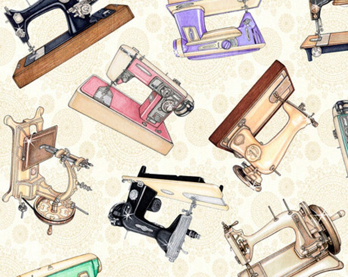 Quilting Treasures - Tailor Made - Vintage Machine - Cream - Tossed Vintage Machines -  Sold by the Yard - 27336E