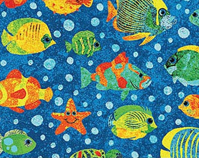 """Northcot - Stonehenge - Underseas Adventure - All Over Sealife Print - 39409-44 - by  Linda Ludovico - 36""""x45"""" - Sold by the Yard"""