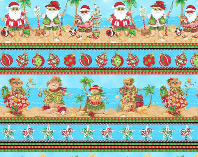 Blank Quilting - Holiday Beach - Border Stripe - Flamingo fabric - Surfing Santa- Christmas Flamingo - Flamingo fabric- Sold by the Yard