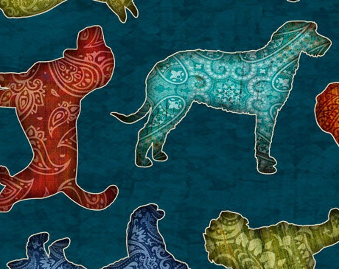 """Quilting Treasures - Must Love Dogs - Tossed Dogs - Dark Teal - 36""""x44""""  - 26937Q - Sold by the Yard"""
