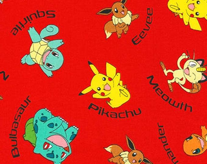 Robert Kaufman - Pokemon - Pikachu - Eevue and Friends  - Pokemon - AOQ-72015-3 - Red - Sold by the Yard